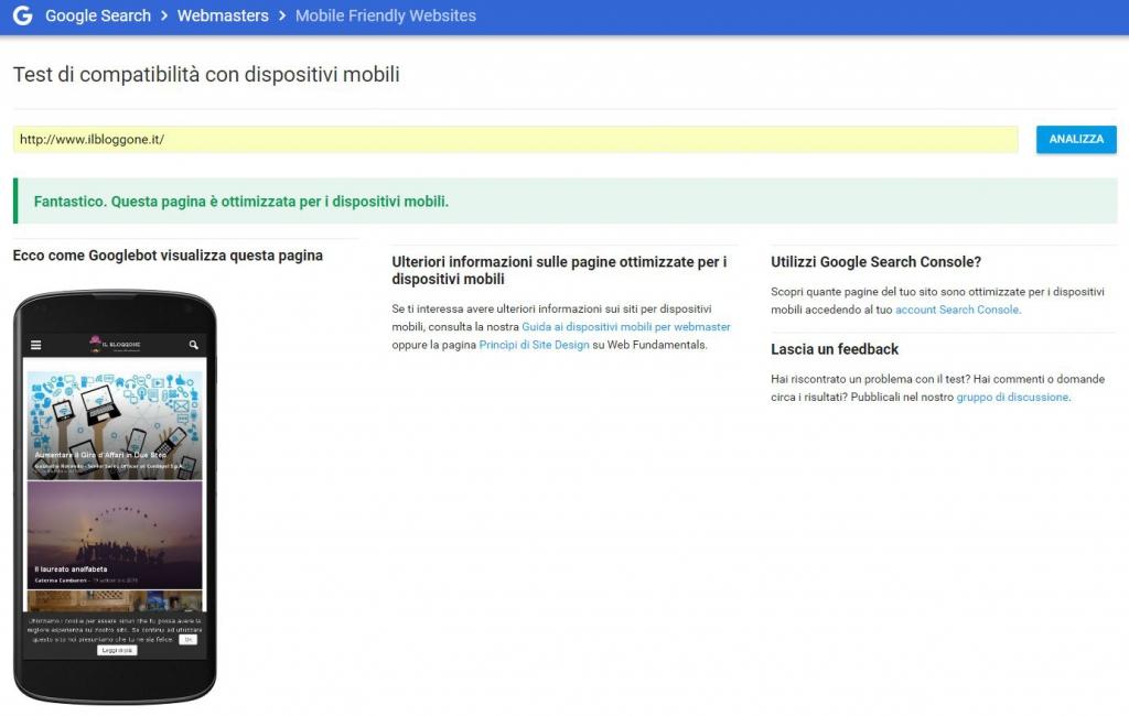 Il vostro sito è user friendly - Test di compatibilità con dispositivi mobili