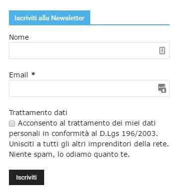 Form di registrazione alla newsletter - Cosa chiedere